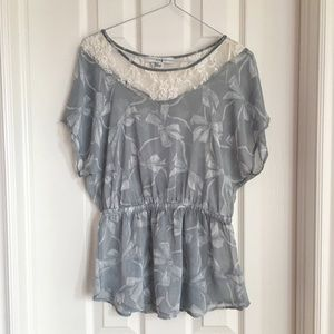 Forever 21 Short Sleeve Butterfly Lace Blouse